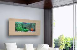 Akwarium Ścienne Wiszące 100x55x10 cm LED fornir